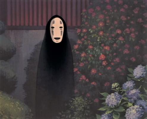 Image d'une silhouette sombre portant sur le visage un masque blanc