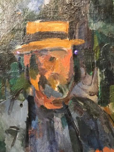 Image d'une peinture de Cézanne représentant un homme assis