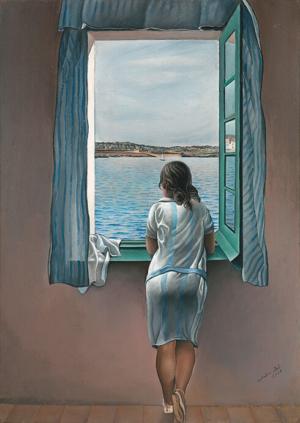 Image d'une femme, de dos, regardant par une fenêtre ouverte