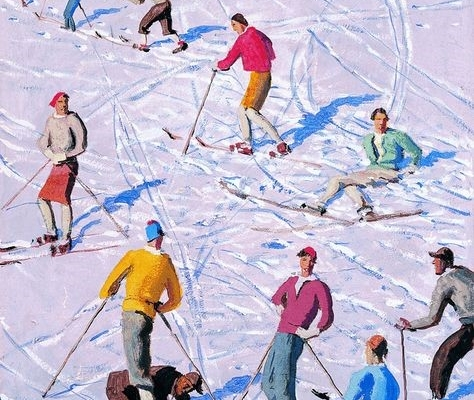 Illustration représentant un groupe de skieurs colorés sur le fond blanc du paysage enneigé