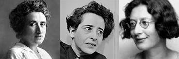 Montage photo des portraits de Rosa Luxembourg, de Hanna Arendt et de Simone Weil