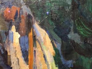 """Image d'un détail du tableau """"Homme assis"""" (1905) de Cézanne"""