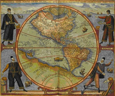 Carte d'Amérique, avec les représentations de Christophe Colomb, Amerigo Vespucci, Fernand de Magellan et Francisco Pissarro, estampe, 1566