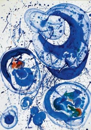Tableau abstrait. Sam Francis (1962). Sans titre